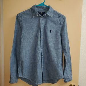 Boys Polo RL Long Sleeve Denim Shirt Large 14-16